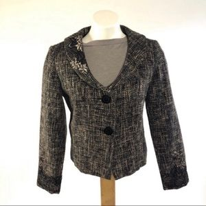 Nine & Co tweed lace fitted blazer retro style